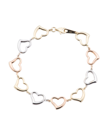 Made In Italy 14k Tricolor Cold Linked Heart Bracelet