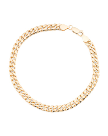 Made In Italy 14k Gold Polished Curb Bracelet