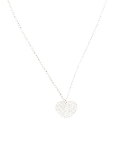 Made In Italy 14k White Gold Heart Necklace