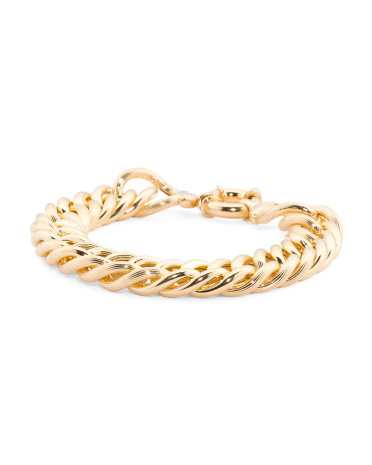 Made In Italy Gold Plated Sterling Silver Textured Curb Link Bracelet