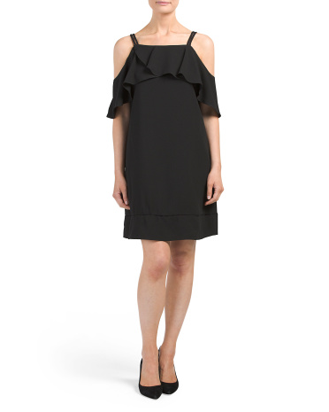Crepe Cold Shoulder Shift Dress