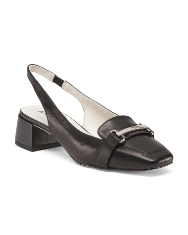 Akabbie Sling Back Leather Heels