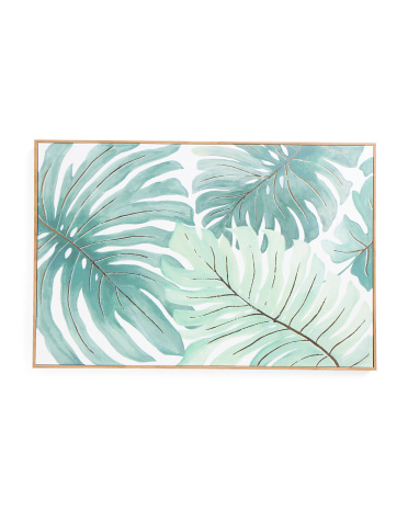 36x24 Tropical Leaves Canvas Framed Wall Art