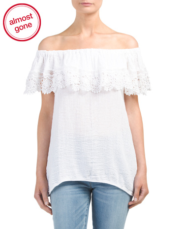 Made In Italy Off Shoulder Crochet Top