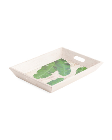 Made In India 18in Banana Leaf Wood Tray