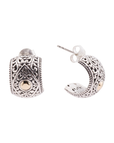 Made In Bali Filigree 14k Gold And Sterling Silver Earrings