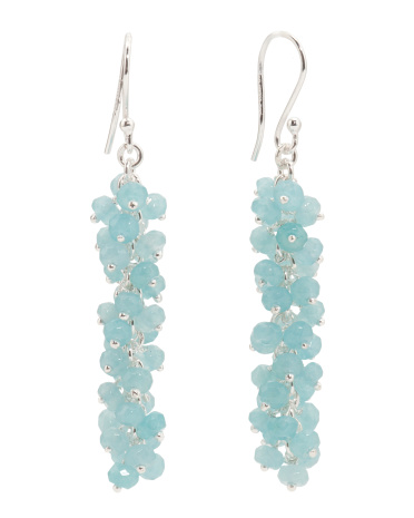 Made In India Sterling Silver Aqua Chalcedony Beaded Earrings