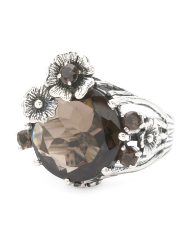 Made In India Sterling Silver Floral Gemstone Ring
