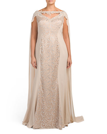 Plus Lace Gown With Long Cape