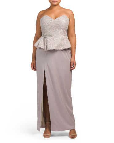Plus Strapless Peplum Gown