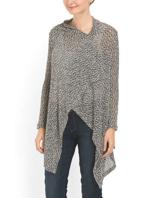 Slub Knit Button Wrap Poncho