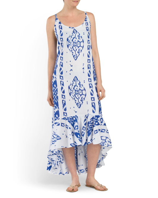 Printed Cover-Up Maxi Dress