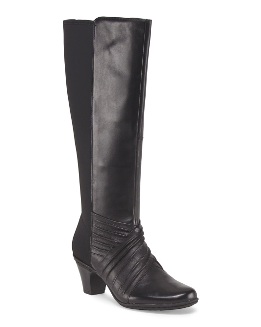 Leather Stretch Panel High Shaft Boot