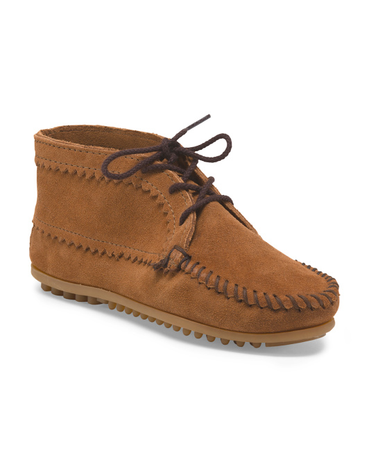 Suede Ankle Moccasin Boot