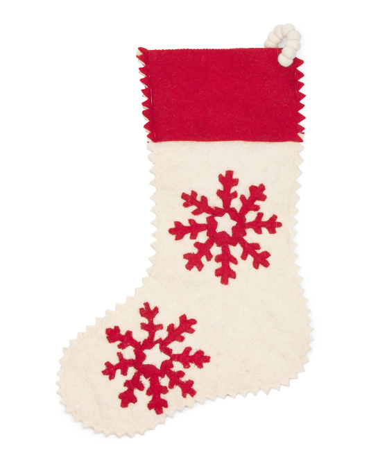 Wool Snowflake Stocking