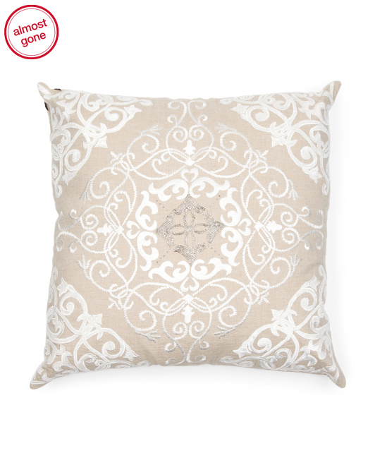 Made In India Linen Handcrafted Pillow