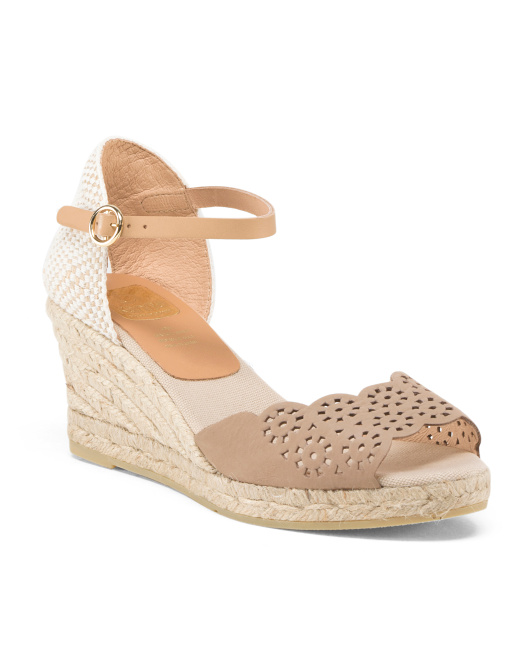 Made In Spain Suede Laser Cut Espadrille