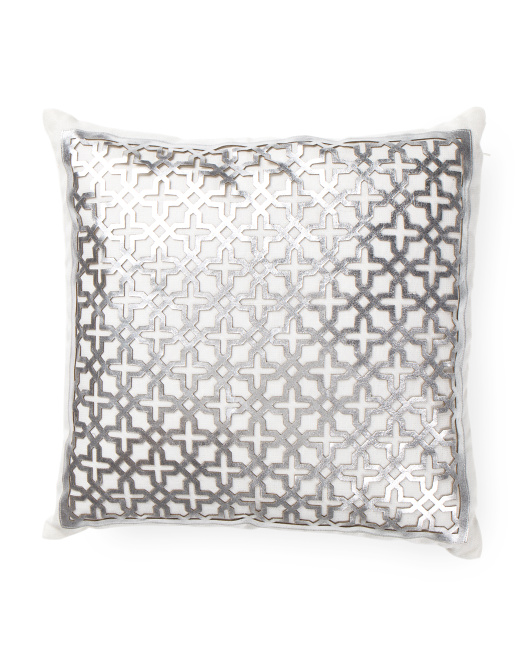 Made In India 18x18 Metallic Laser Cut Leather Pillow