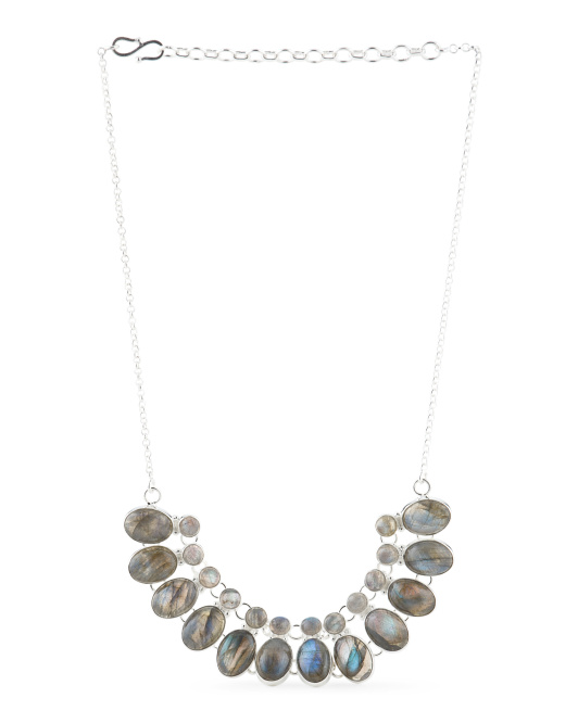 Made In India Sterling Silver Labradorite Collar Necklace