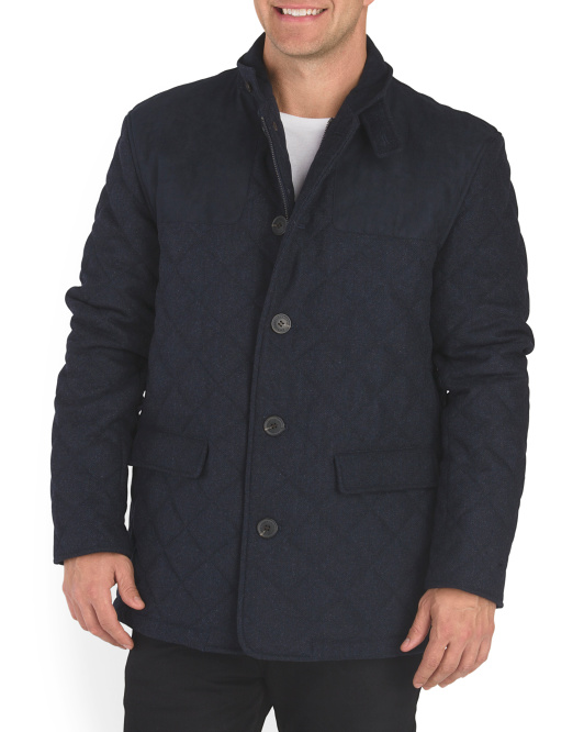 Wool Blend Quilted Riding Jacket