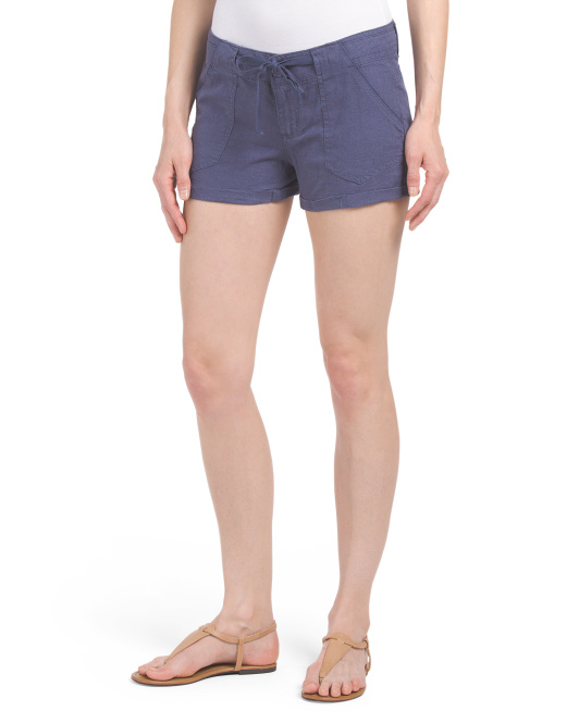 Juniors Linen Blend Tie Front Short