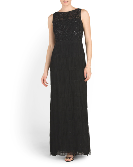 Sleeveless Beaded Tier Fringe Gown
