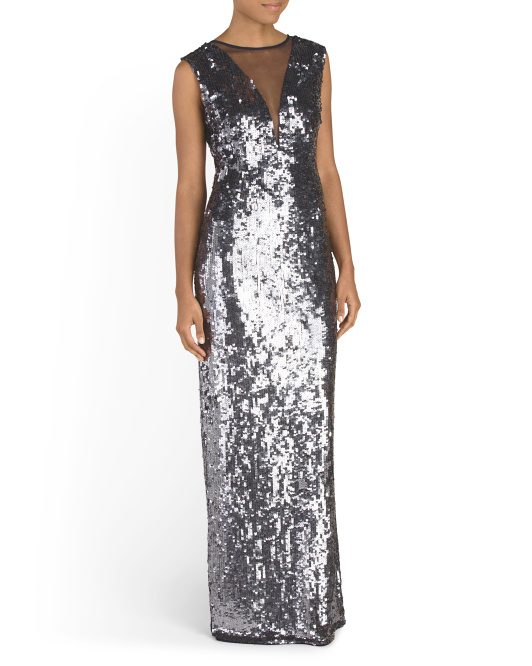 Sequin Gown With Illusion Mesh