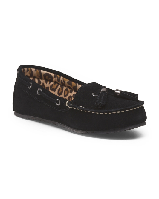 Suede Moccasin With Leopard Lining
