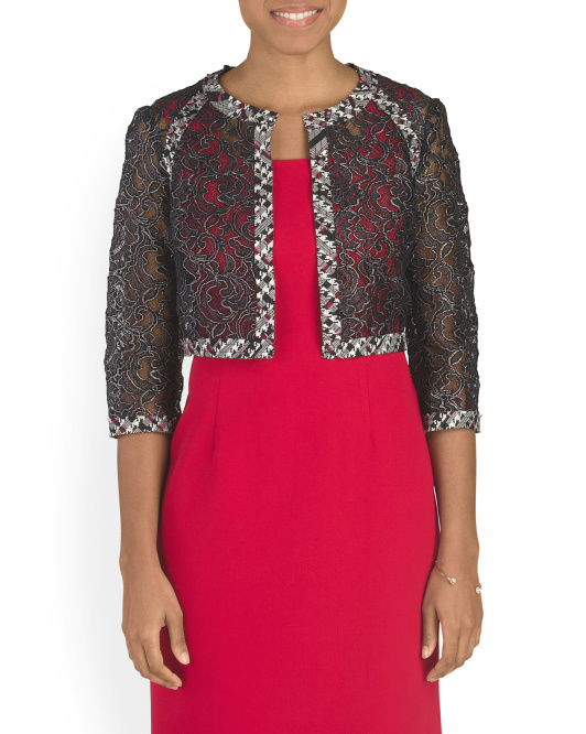 Lace Jacket With Tweed Detail