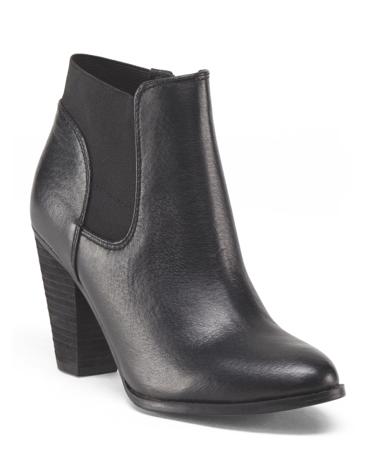 Leather Goring Side Zip Bootie