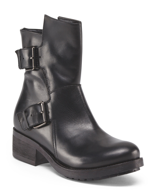 Made In Italy Leather Biker Bootie