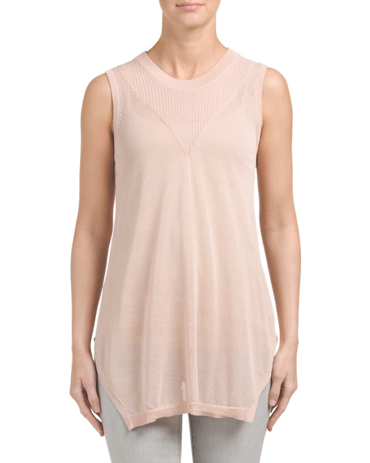 Sheer Sleeveless Hi Lo Tunic