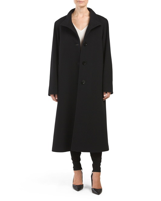 Made In Italy Wool Blend Long Stand Coat