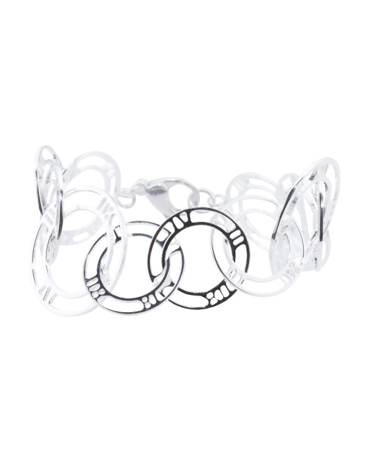 Made In Italy Sterling Silver Roman Numeral Rings Bracelet