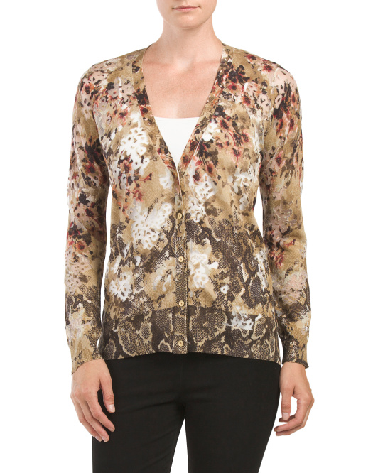 Silk Cashmere Burnout Cardigan