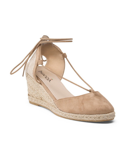 Open Back Espadrille Wedge With Laces