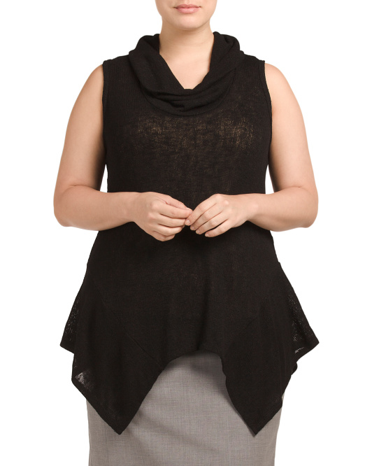 Plus Made In USA Sleeveless Cowl Neck Top