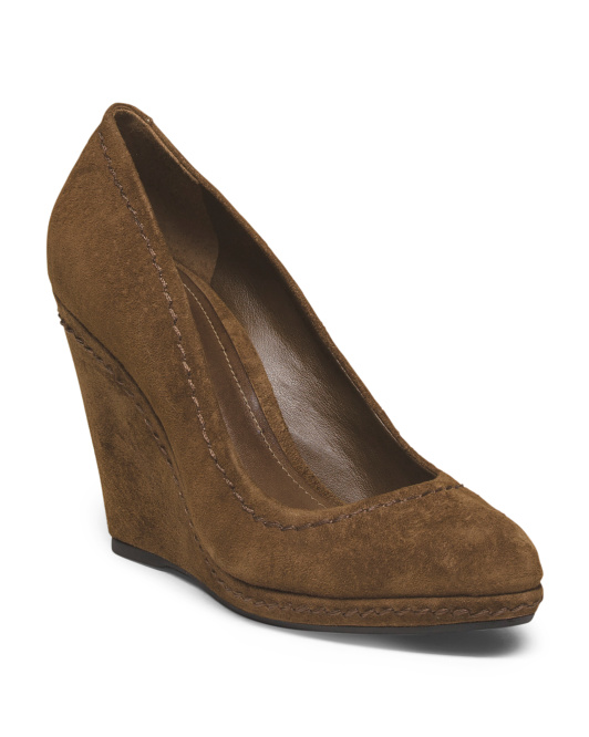 Suede Close Toe Wedge