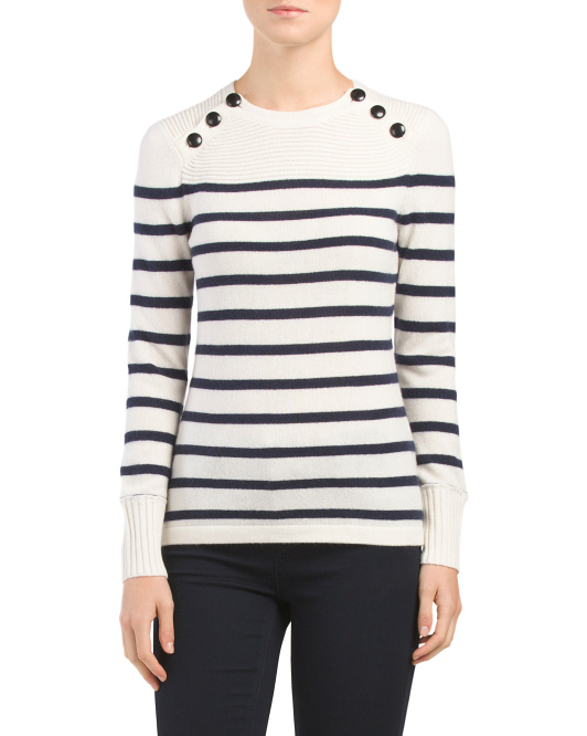 Cashmere Striped 3 Button Sweater