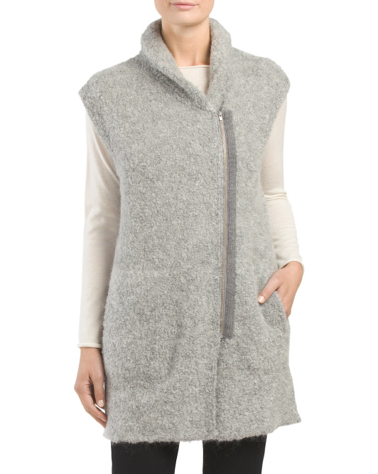Wool Blend Full Zip Boucle Vest
