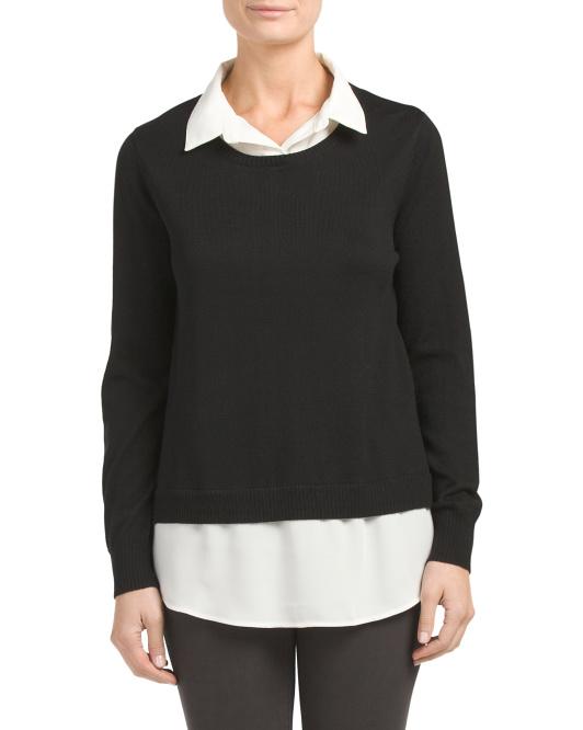 Long Sleeve Woven Sweater