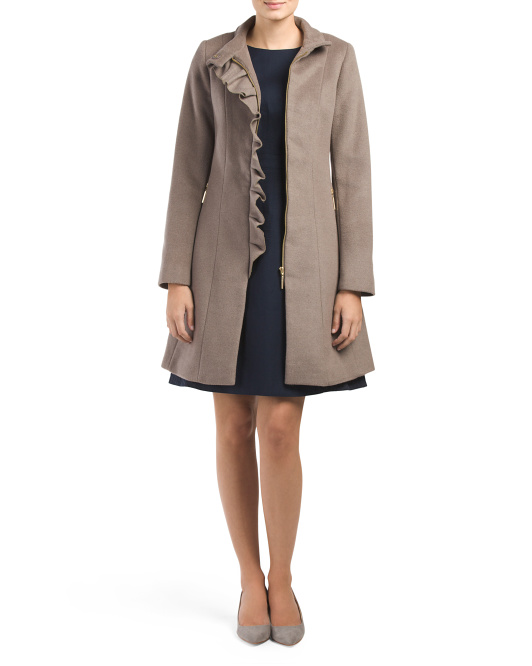 Wool Blend Kenya Side Ruffle Coat