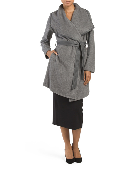 Faux Leather Trim Wrap Front Coat