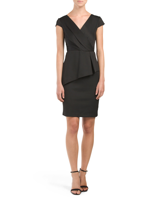 Made In USA Short Inserted Pleat Faux Wrap Dress