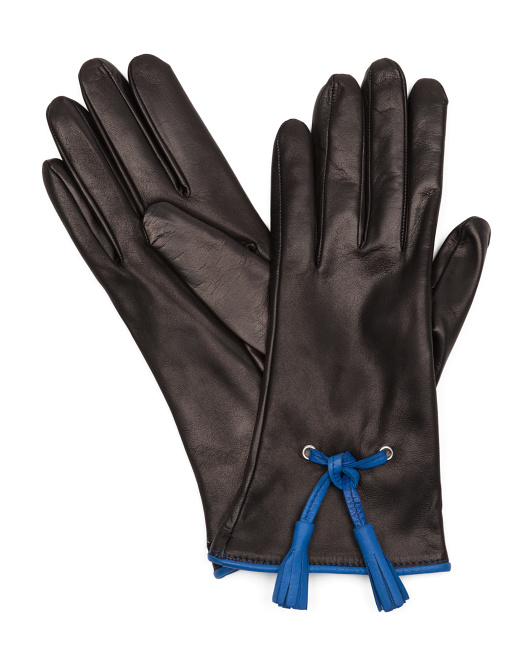 Made In Italy Leather Contrast Piping Gloves