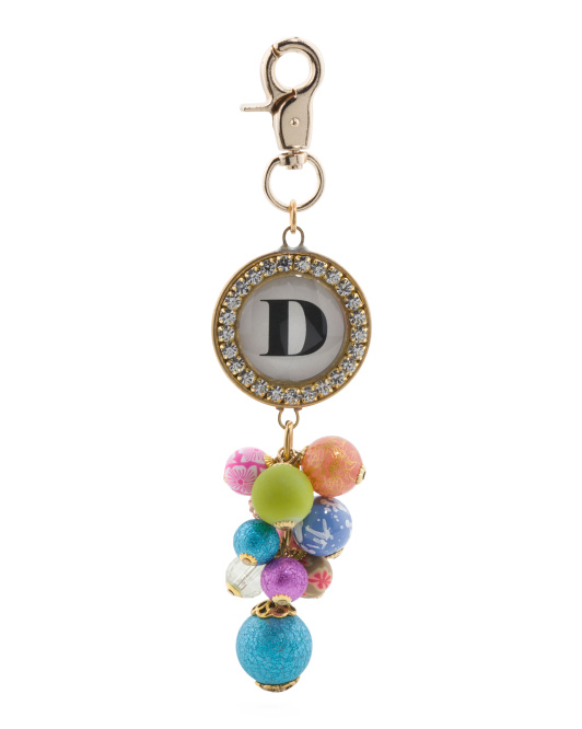 Made In USA Rhinestone Monogram Beaded Bag Charm