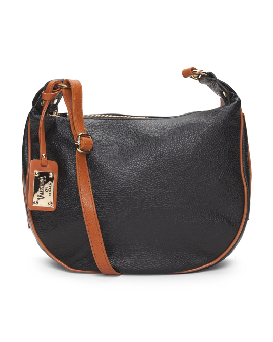 Made In Italy Logo Leather Hobo