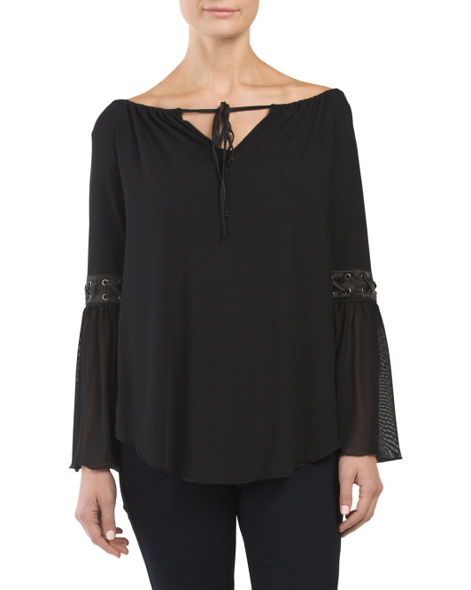 Lace Up Sleeve Detail Tie Front Top