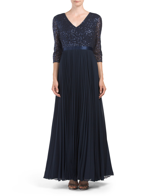 Lace Top Pleated Gown