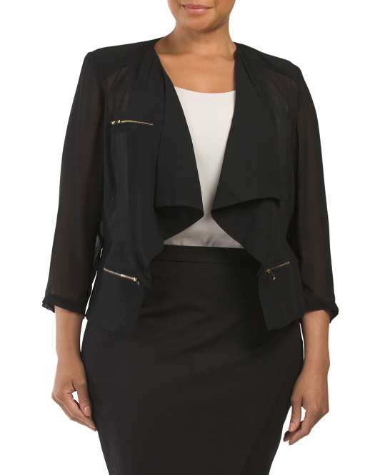 Plus Australian Designer Draped Back Jacket